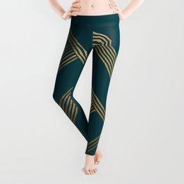 Art Deco Blurred Lines In Teal Leggings