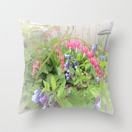 Floral Fantasy Bleeding Hearts and Bluebells Throw Pillow