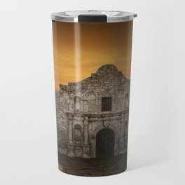 The Alamo Mission in San Antonio Texas with the Lonestar Flag Flying No.0256 A Fine Art Historical P Travel Mug