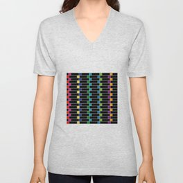 Colorful squares composition on black- multicolor gifts Unisex V-Neck