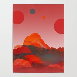"""Coral Pink Sci-Fi Mountains"" Poster"