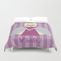 virgo Duvet Covers featuring Virgo by Esther Ilustra