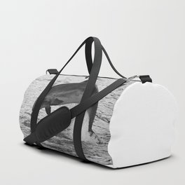 Jumping wild bottlenose dolphin black and white Duffle Bag