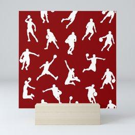 Basketball Players // Maroon Mini Art Print
