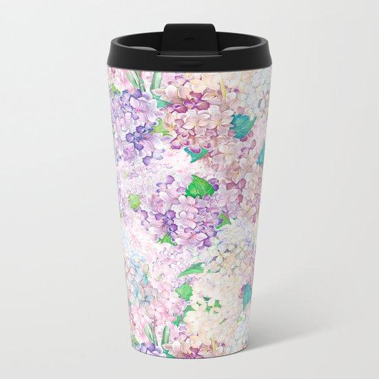 Pastel Purple and blue Lilac & Hydrangea - Flower Design Metal Travel Mug