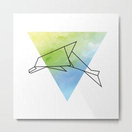 Origami Dolphin Metal Print