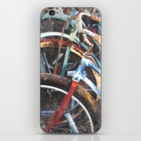 bicycles iPhone & iPod Skins featuring  BICYCLES by Encaustic Images