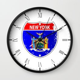 New York Flag Icons As Interstate Sign Wall Clock