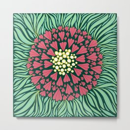 Pink and green florals Metal Print