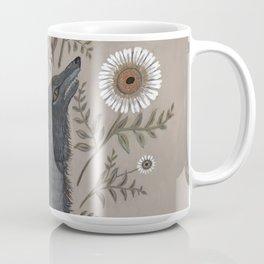 Wolf with Flowers Coffee Mug