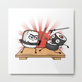 Sushi Samurai Battle Metal Print