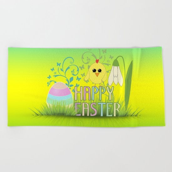 Happy Easter Egg, Chick and Snowdrop Beach Towel