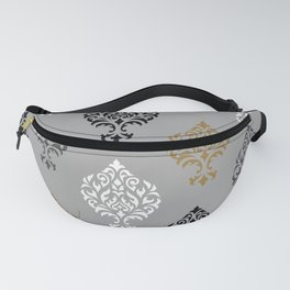 Orna Damask Art I BW Grays Gold Fanny Pack