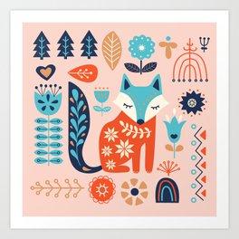 Soft And Sweet Scandinavian Fox Folk Art Art Print