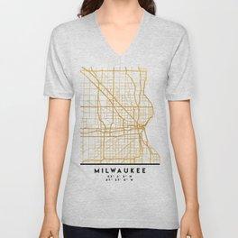 MILWAUKEE WISCONSIN CITY STREET MAP ART Unisex V-Neck