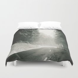 Forest Road In Winter Duvet Cover