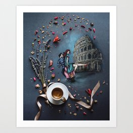 Little Coffee story in Rome Art Print