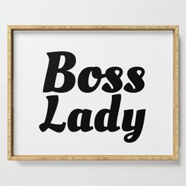 Boss Lady in Cursive Black Serving Tray