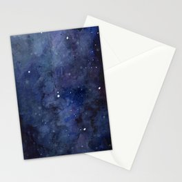 Galaxy Nebula Watercolor Night Sky Stars Outer Space Blue Texture Stationery Cards