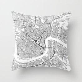 New Orleans City Map United States White and Black Throw Pillow