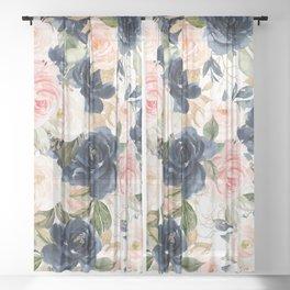Navy Pink Watercolor Floral Pattern Nursery Flowers Sheer Curtain