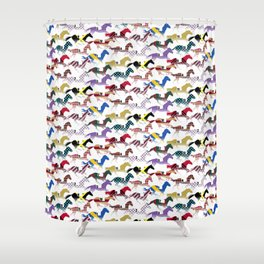 Off to the Horse Races Jockey Silk Pattern Shower Curtain