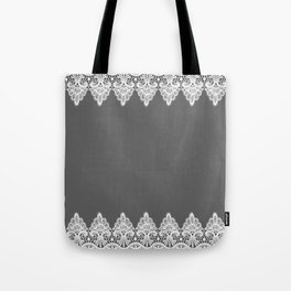 White Vintage Lace Gray Background Tote Bag