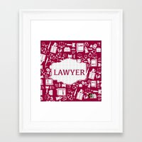 lawyer Framed Art Prints featuring Red Lawyer by Be Raza