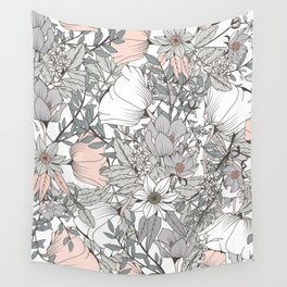 Farmhouse Chic Blush Pink and Grey Floral Pattern Wall Tapestry