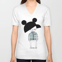 minnie V-neck T-shirts featuring MINNIE ME by Manola  Argento