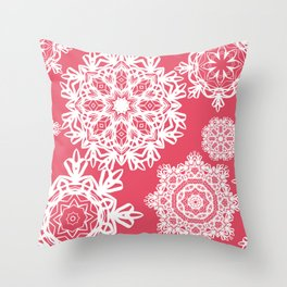 Flurries on Coral Throw Pillow