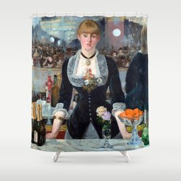 Edouard Manet Bar at the Folies Bergere Shower Curtain