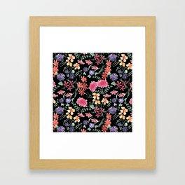 Bright flowers on a black background. Framed Art Print