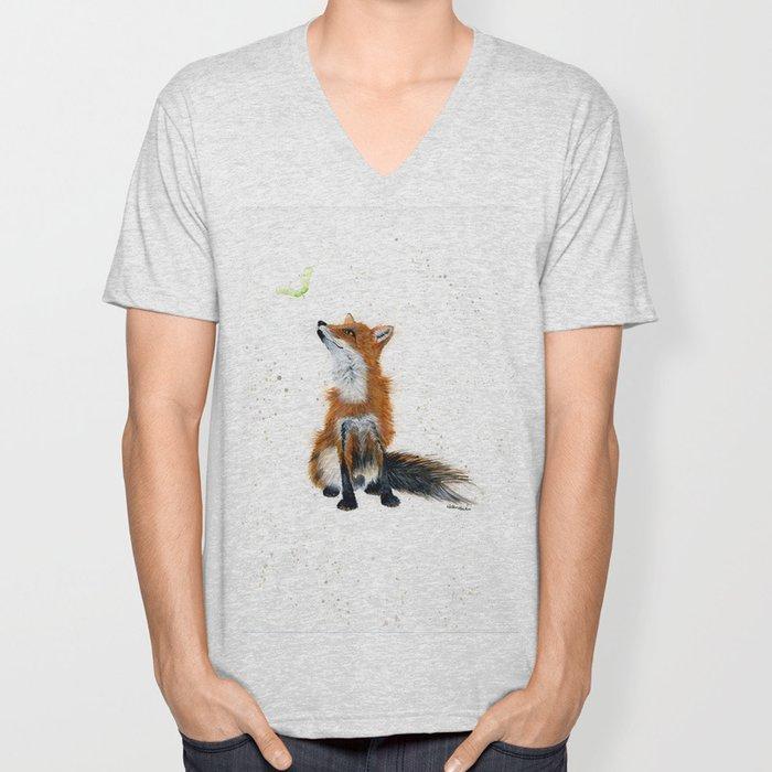 Maple Key Fox - animal watercolor painting Unisex V-Neck