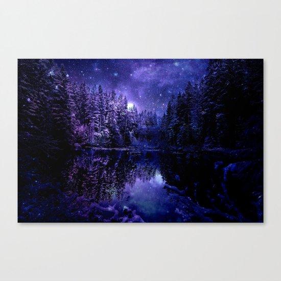 Winter Forest Deep Purple Blue Canvas Print