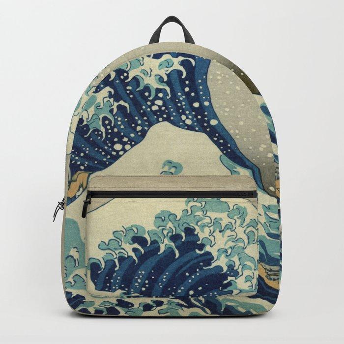 The Classic Japanese Great Wave off Kanagawa Print by Hokusai Rucksack