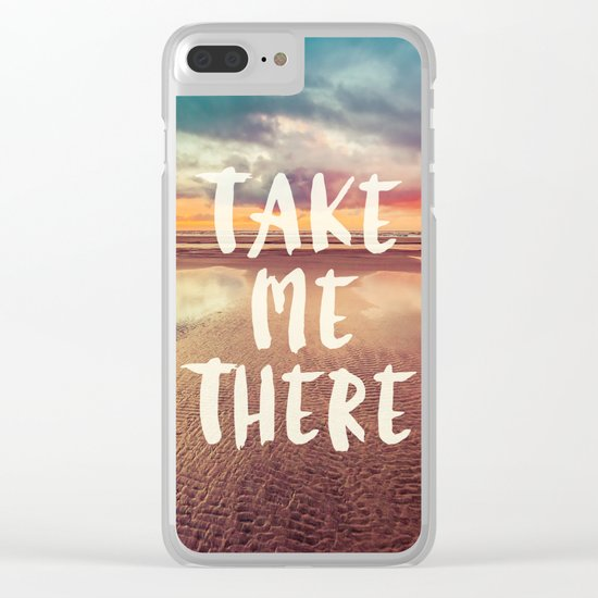 Take Me There Beach Sunset Quote Clear iPhone Case