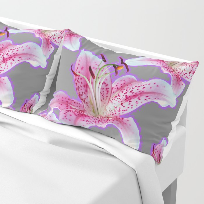 PURPLE & PINK ASIAN LILIES GREY ART PATTERNS Pillow Sham