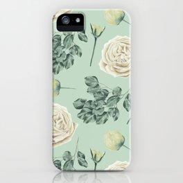 Rose Pattern Cream + Mint Green iPhone Case