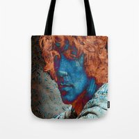 caleb troy Tote Bags featuring Troy by Robin Curtiss