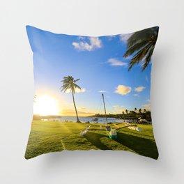 Sunset at seaside park|Hawaii Throw Pillow