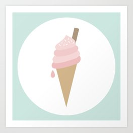 Pink Ice Cream Cone Art Print