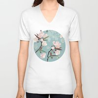 cherry blossoms V-neck T-shirts featuring Cherry-Blossoms by Niloufer