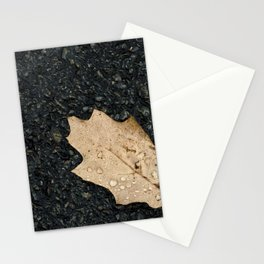 Autumn Leaf With Raindrops Stationery Cards