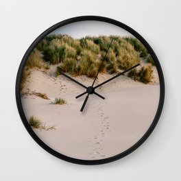 Footsteps on the calm beach || Summer ocean nature landscape natural zen island || Digital travel photography photo art print Wall Clock