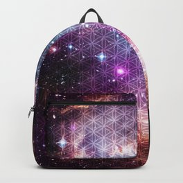 Sacred Nebula Flower Of Life Backpack