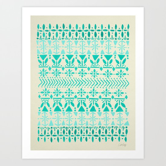 Norwegian Pattern – Aqua on White Art Print