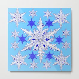 BABY BLUE SNOW CRYSTALS BLUE WINTER ART DESIGN Metal Print