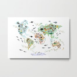 Cartoon animal world map for children, kids, Animals from all over the world, back to school, white Metal Print