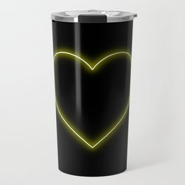 Yellow Neon Valentines Love Heart Travel Mug